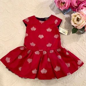 Genuine Kids Red Royal Dress Embroidered Crowns 4T